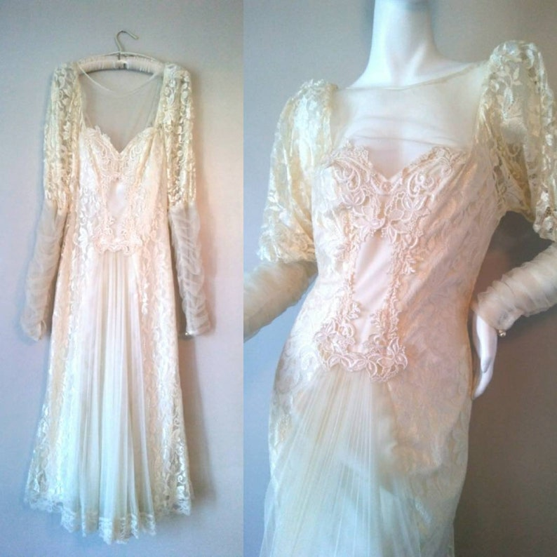 f88ebd86439 Vintage Flapper Dress Ivory Illusion Lace 1920s Inspired Gown