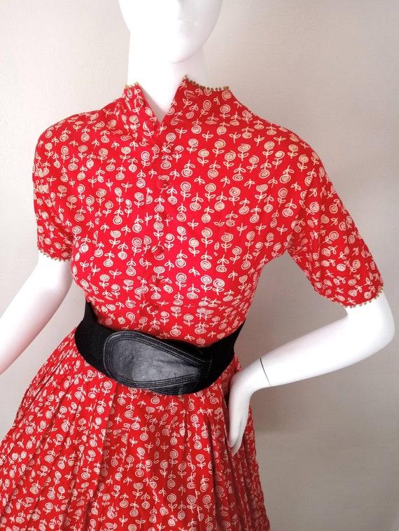 Vintage 1950s Lanz Red Rose Print XXS Tiny Dress … - image 3