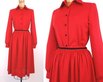 Vintage 1970s Red and Black Pinstripe Blouse and Skirt Set // Retro Butte Red and Black Vintage Skirt Set // Small Stripe Set // 34B 26W 40H