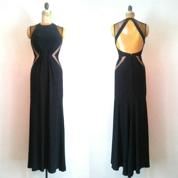 Vintage 1990s Black Mesh Keyhole Back Gown // Open