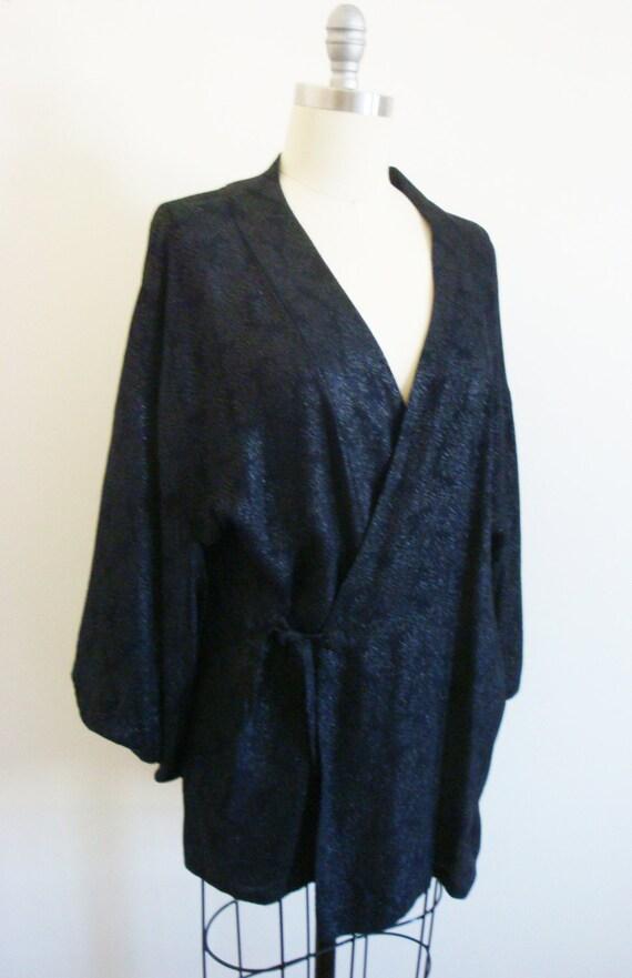 Vintage Shimmery Black Floral Brocade Kimono One … - image 5