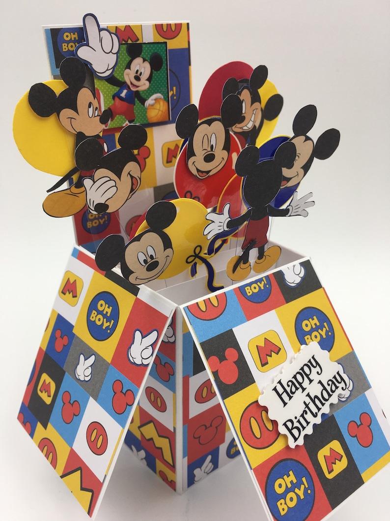 Handmade Mickey Happy birthday Pop up box greeting card