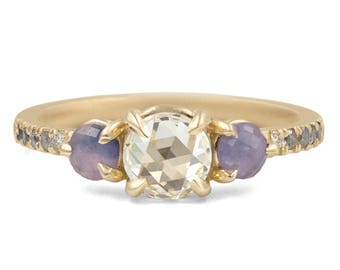 Apollo Three Stone Engagement Ring in 14kt Gold