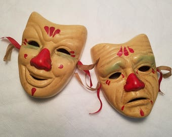 Two Vintage Wall Hanging Comedy / Tragedy Theater Porcelain Clown Masks  sc 1 st  Etsy & Porcelain mask | Etsy