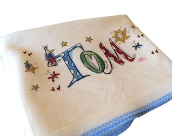 Blanket with name, light blue, Rosirosinchen