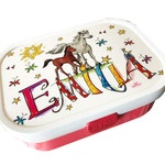 Bread tin with name, foal and horse, with separation, breakfast tin red, Vespercan with horses, nursery bread tin, RosiRosinchen