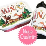 Bread tin with drinking bottle, forest animals, with name, breakfast set kindergarten