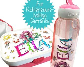 Set Brotdose + Wasserflasche Mepal Mermaid, Trinkflasche kohlensäurehaltige Getränke, Mepal Trinkflasche Flip-up, Trinkflasche mit Namen