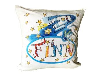Pillow named Space Rocket Astronaut, 40 x 40, Pillowcase