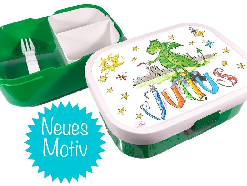 RosiRosinchen Tagesmutter Kindergarten Vorschule Drachen Brotdose mit Namen Brotdose mit Trennung Kita Tagesvater