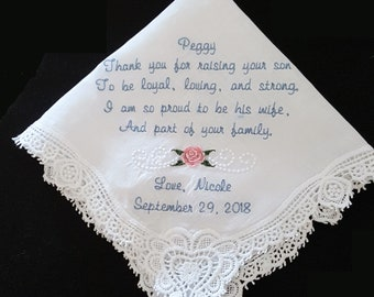 Personalized Mother of the Groom Embroidered Sentiment Handkerchief