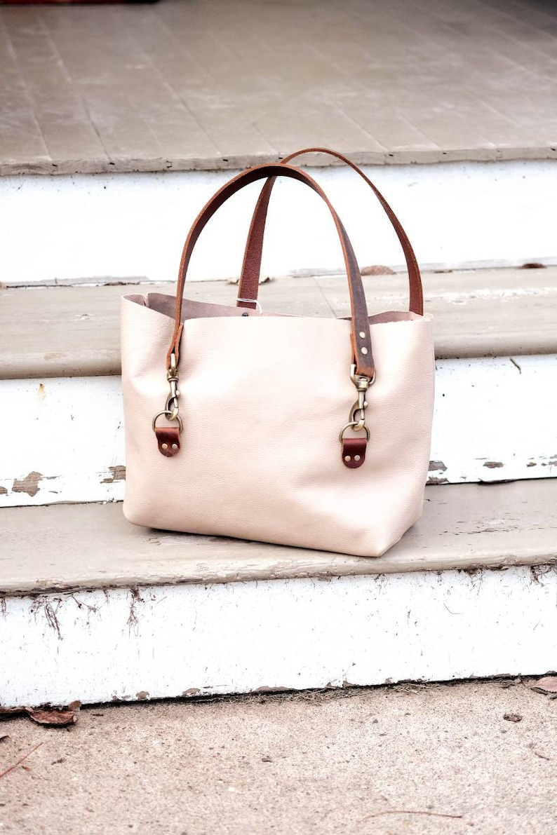 ac5926c5ee Cream Leather Tote Bag with buckles large purse tote