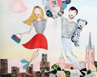Large Personalized Couple Portrait - Custom Traveling Partner Gift - Mixed-Media Original Illustration