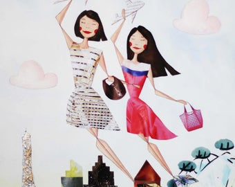 Mothers Day Custom Portrait - Traveling Mother and Daughter - Mixed-Media Original Large Illustration