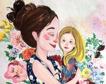 Mother and Daughter Original Gouache Portrait Illustration