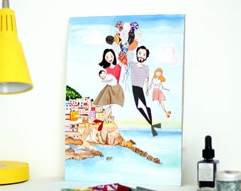 Family Portrait Custom Illustration - A Trip to Europe - Original Illustration