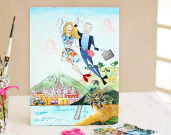 Personalized Portrait for Couple - One of a Kind Travel Illustration - Mixed-Media Custom Portrait