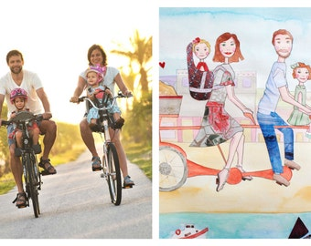 Custom Family Portrait - Mixed-Media- Choose the City - Happy Family on Bicycle