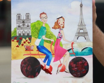 Couple on a Bicycle - Large Custom Couple Portrait - Choose the City - Mixed-media