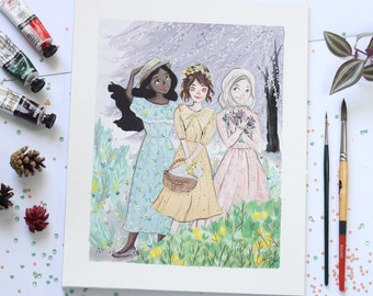 Floral Ladies - Original Illustration - Gouache on Paper