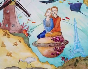 Extra Large Personalized Couples Portrait - Precious Moments - 30x22 Original Illustration