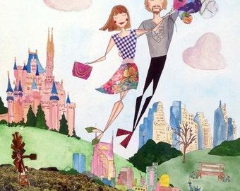 Large Couple Custom Portrait - Traveling Couple - Original Mixed-Media Illustration