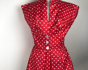 c21ea7d786ae0 1950s 50s red polka dot cotton blouse with peplum