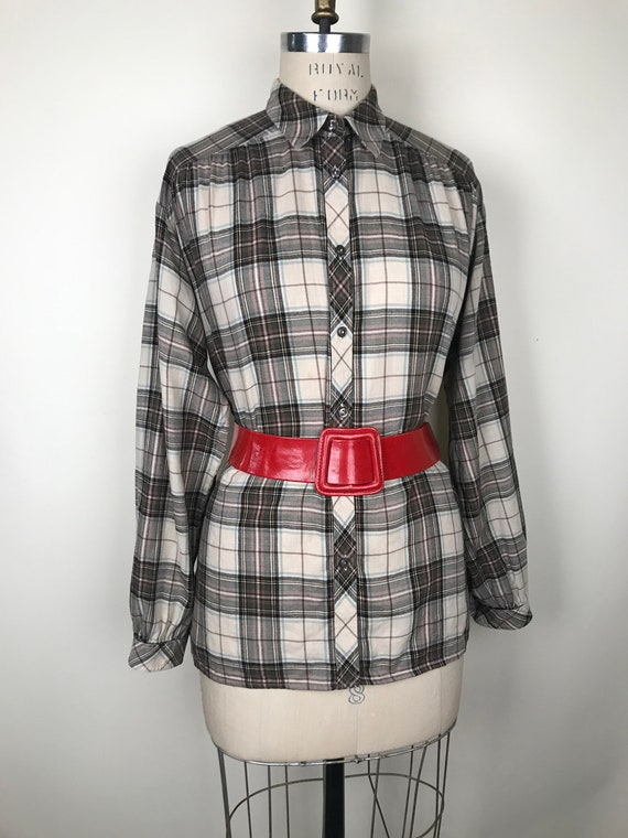 Mary Quant mid 1970s/70s plaid blouse