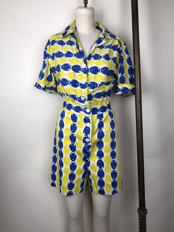 1940s 40s Novelty fish print cotton romper