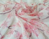 Light weight silk scarf sakura, Cherry blossoms , spring scarf, chiffon silk, Size 26 inches 26 inches, handpainted silk scarf square