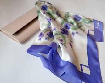 ultra violet neck silk scarf, silk head scarves, purple silk scarf handpainted,  gift for women, satin scarf