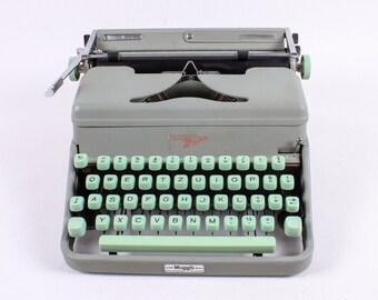 SOLD!!! HERMES MEDIA -  vintage typewriter - portable manual typewriter - office typewriter - green working typewriter