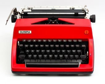 Typewriter.Company - Red Olympia SM9 - Working typewriter - vintage typewriter - German typewriter - portable