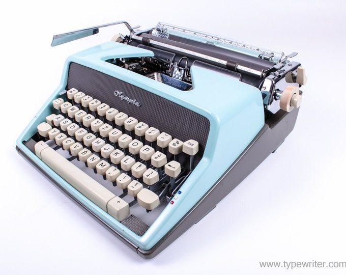 BEST GIFT! Typewriter.Company - Blue Olympia Monica SM7 - vintage working typewriter - portable typewriter - gift - qwerty typeface
