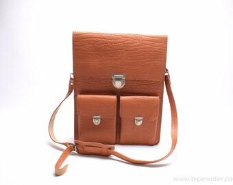 LEATHER MESSENGER BAG - vintage leather bag -light brown leather bag - brown leather briefcase - Gift