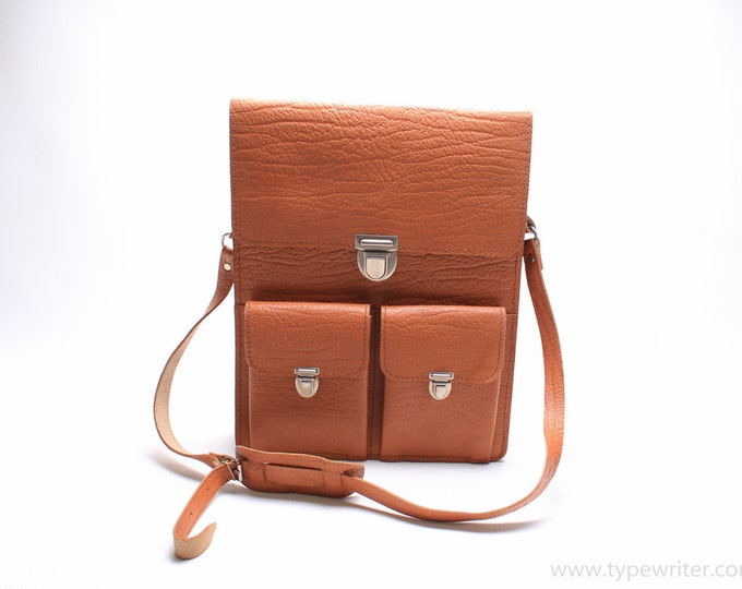 LEATHER MESSENGER BAG - vintage leather bag -light brown leather bag - brown leather briefcase - Gift
