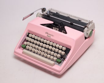 CUSTOM MADE pink Olympia  SM - vintage working typewriter - pink typewriter - qwerty - high durability car paint - rare typewriter