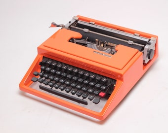CUSTOM MADE OLIVETTI Dora aka Lettera 31- highly durable car paint -orange portable typewriter- rare typewriter- mint condition