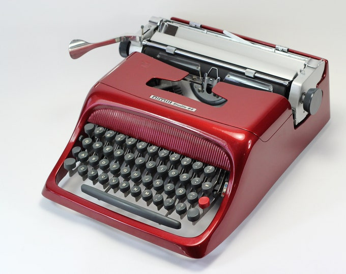 OLIVETTI STUDIO 44 - burgundy mint condition perfectly working vintage typewriter - Professionally Serviced