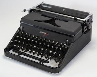 HERMES 2000 - professionally serviced working typewriter - vintage typewriter - portable manual typewriter - black iconic working typewriter