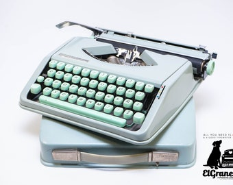 HERMES BABY typewriter - professionally serviced seafoam green portable working typewriter - 1960s vintage ultraportable typewriter