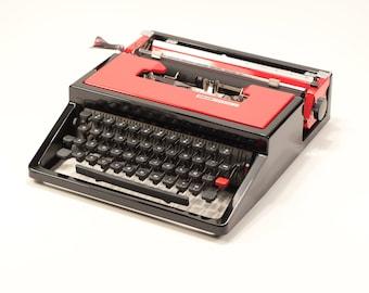 Typewriter Company- OLIVETTI DORA aka Lettera 31- black&red portable typewriter - rare typewriter - perfect condition typewriter
