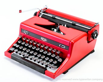 Typewriter.Company Working typewriter - Custom Red ROYAL QUIET DELUXE - Vintage Typewriter- Portable typewriter