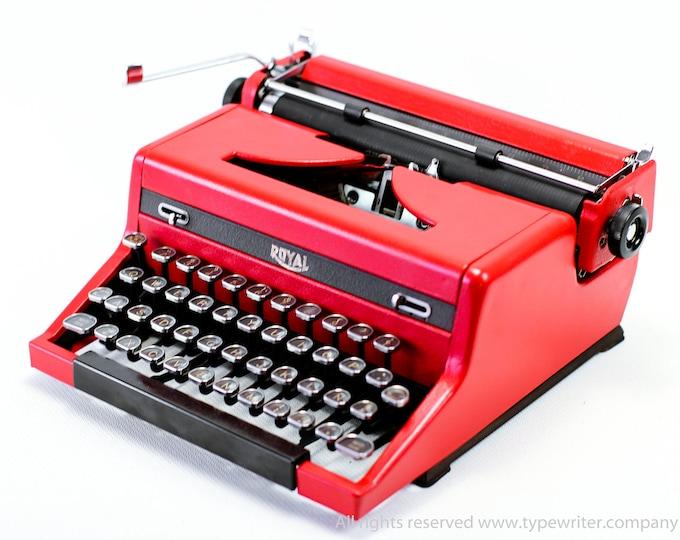 Typewriter.Company Working typewriter - Custom Red ROYAL QUIET DELUXE - Vintage Typewriter- Portable typewriter