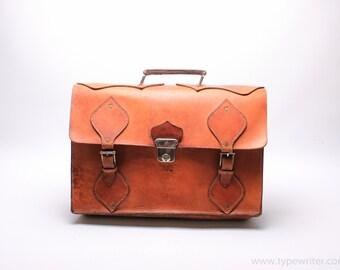 LEATHER MESSENGER bag - vintage leather bag - dark brown leather bag - brown leather briefcase -  vinatge messenger bag
