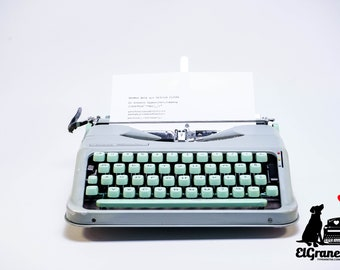HERMES BABY typewriter - professionally serviced seafoam green portable working typewriter - 1960s vintage ultraportable typewriter - QWERTZ