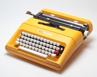 Original Limited Edition ElGranero's Yellow OLIVETTI LETTERA 35 - perfectly working vintage typewriter - Professionally Serviced