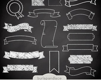 Chalkboard Banner Clipart Banners Digital Ribbon Labels Cliparts