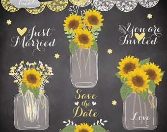 Sunflowers clipart, Wedding mason jar clipart, flower clipart, bridal clipart, yellow flower, summer, flower cliparts, rustic wedding