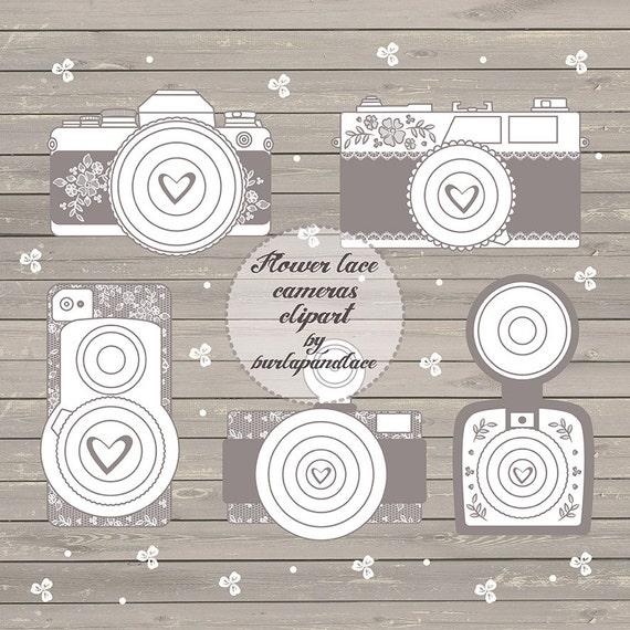 Rustic cameras clipart shabby chic cameras clipart wedding | Etsy